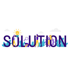 solution word concept cartoon flat business vector image