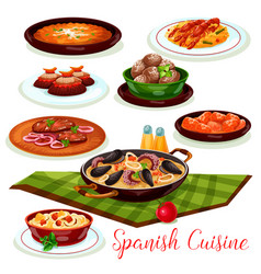 spanish cuisine traditional dinner diches icon vector image