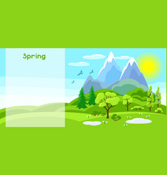 spring banner with trees mountains and hills vector image