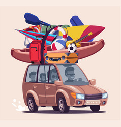 Summer vacation journey flat vector