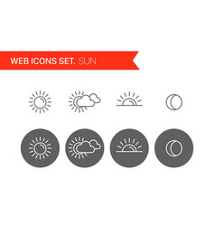 sun thin line icons set vector image