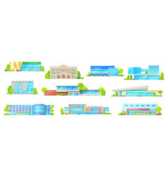 supermarket and library building isolated icons vector image