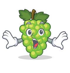 surprised green grapes mascot cartoon vector image