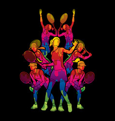 Tennis players women action designed using color vector
