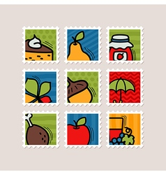 Thanksgiving Day stamp set Harvest vector image