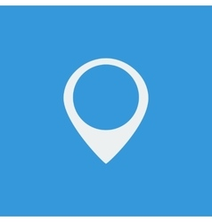 White location and address icon on blue background vector