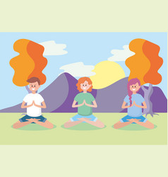 women and man training yoga position vector image