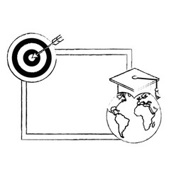 World planet graduation with chalkboard vector
