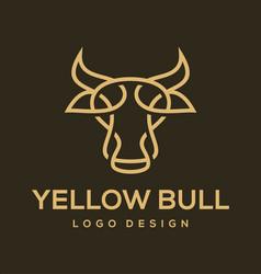 yellow bull logo design vector image