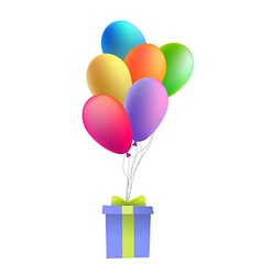 Balloons with a gift vector image vector image