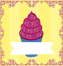 cupcake with flag vector image vector image