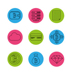 Digital and electronic buttons elements to vector