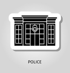 police building black sticker vector image vector image