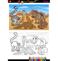 african mammals cartoon coloring book vector image