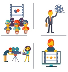 Cinema and Movie flat concept set vector image vector image