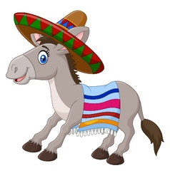 Mexican donkey wearing a sombrero vector image vector image