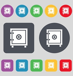 Safe money icon sign A set of 12 colored buttons vector image