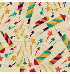 Seamless pattern with fireworks on crumpled paper vector image vector image