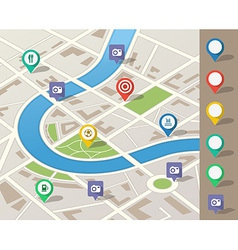 city map with location pins vector image vector image
