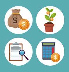 Color background icons growth economy in circular vector
