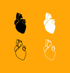 human heart set black and white icon vector image