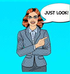 Pop art business woman pointing finger vector