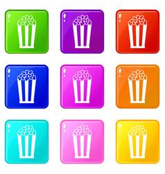 popcorn in striped bucket set 9 vector image