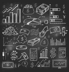 stock market had drawn symbols on blackboard vector image vector image