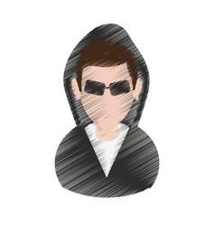 suspicious looking man criminal icon image vector image