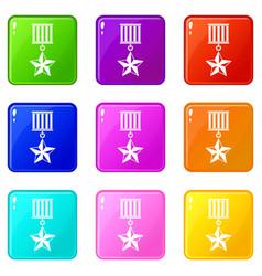 medal star set 9 vector image vector image