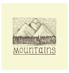 mountains with house and forest engraved hand vector image