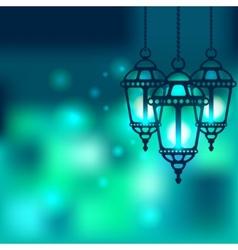 Ramadan lantern shiny background vector image