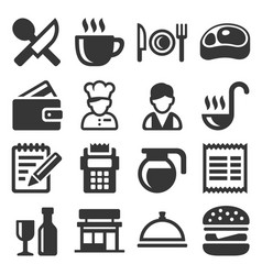 restaurant cooking and kitchen icons set vector image vector image