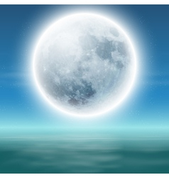 Sea with full moon at night vector image
