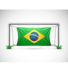 Soccer goal with flag brazil vector image