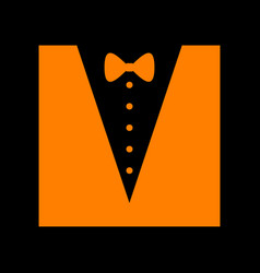 tuxedo with bow silhouette orange icon on black vector image