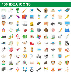 100 idea icons set cartoon style vector image