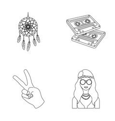 Amulet hippie girl freedom sign old cassette vector