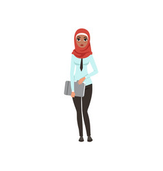 Arabic businesswoman character standing with vector