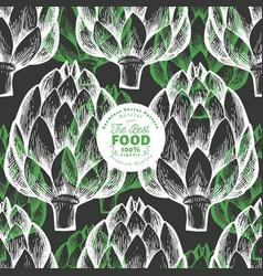 artichoke vegetable seamless pattern hand drawn vector image