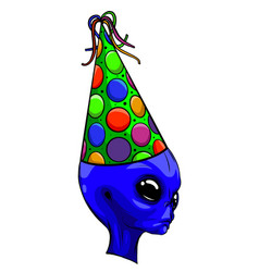 blue winged friendly monster in party hat vactor vector image