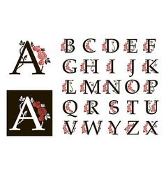 Botanical alphabet capital letters set vector