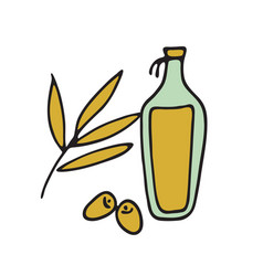 bottle olive oil and branch flat vector image