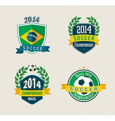 Brazil soccer vintage labels set vector