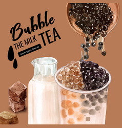 Bubble fresh milk tea promotion set discount ad vector