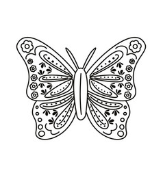 butterfly with mexican culture decoration line vector image