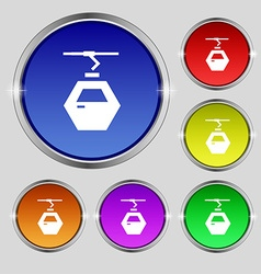 Cableway cabin icon sign Round symbol on bright vector