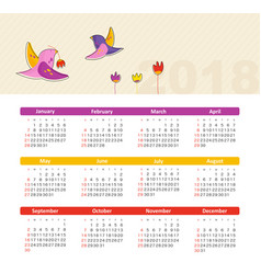 calendar 2018 with bird week starts sunday vector image