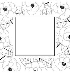 Camellia flower on white banner card outline vector