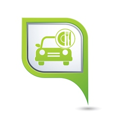 car with fast food icon on green pointer vector image